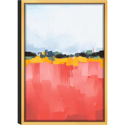 Abstract 'Dusk' Acrylic UV Resistant Glass Wall Art with Gold Frame 16 in. L x 24 in. W