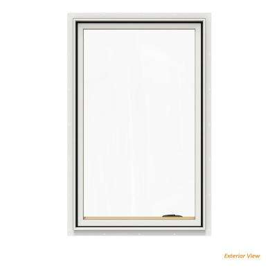 30.75 in. x 48.75 in. W-2500 Series White Painted Clad Wood Right-Handed Casement Window with BetterVue Mesh Screen
