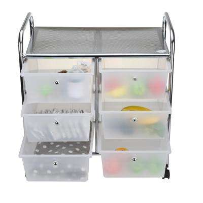 3-Tier 6-Drawer White/Silver Storage Drawer Rolling Utility Cart, All-Purpose