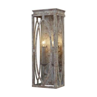 Patrice 6 in. 2-Light Deep Abyss Indoor Sconce with Open Oval Cage Shade
