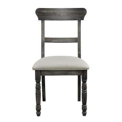 Muse Weathered Pepper Upholstered Ladderback Chair (2-Count)