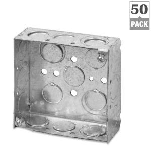 1-Gang 4 in. New Work Pre-Galvanized Metal Square Electrical Box (Case of 50)