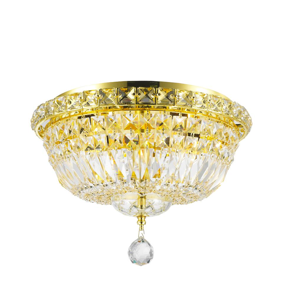 Worldwide lighting empire collection 4 light gold ceiling light with clear crystal
