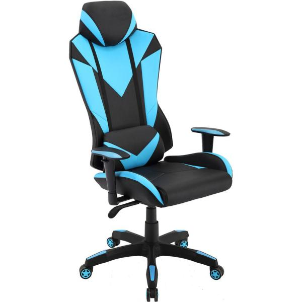 Hanover Commando Ergonomic Black High-Back Gaming Chair and Electric Blue with