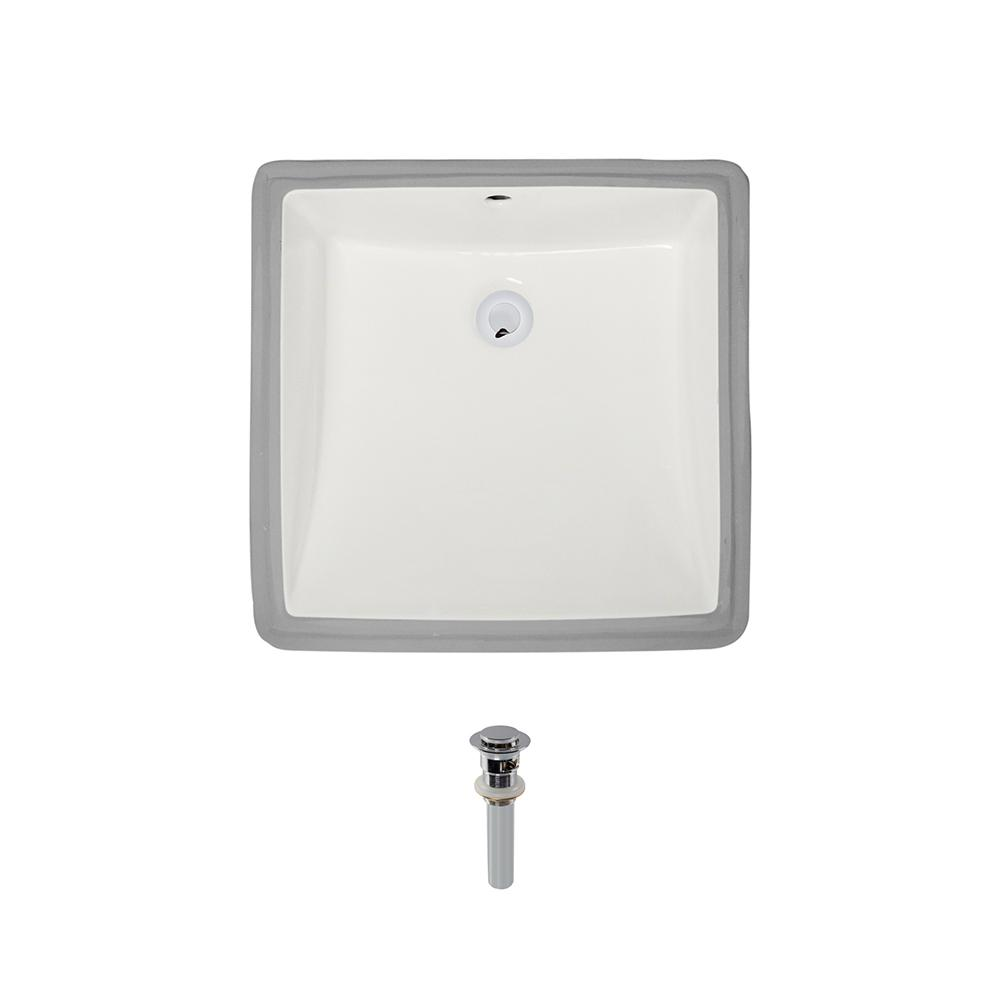 Mr Direct Undermount Porcelain Bathroom Sink In Bisque With Pop Up Drain In Chrome U2230 B Pud C