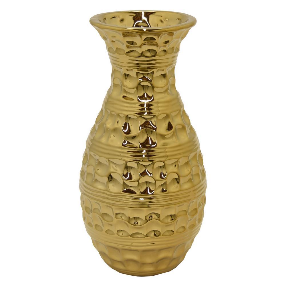 Textured Gold Ceramic Decorative Vase