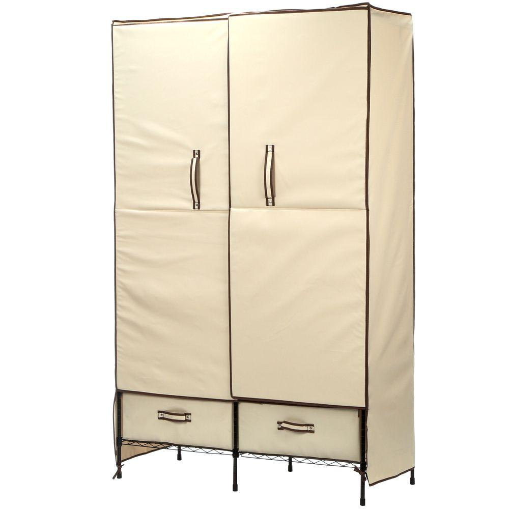 Honey-Can-Do 71 in. H x 45 in. W x 18 in. D Double-Door Portable Closet with Two Drawers in Natural