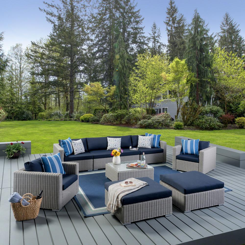 Noble House Santa Rosa Chalk Gray 9-Piece Wicker Patio Conversation Set  with Navy Blue Cushions