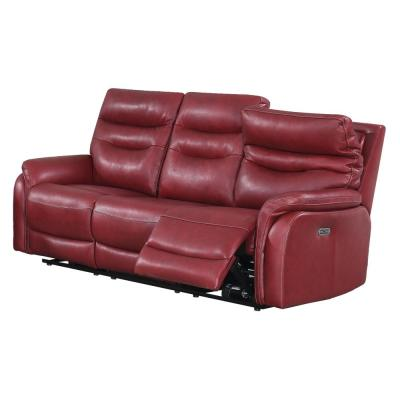 Fortuna 3-Seat Dark Red Leather Power Recliner Sofa