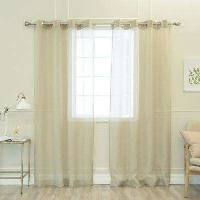 Linen Lurex Curtains in Natural - 84 in. L x 52 in. W (2-Pack)