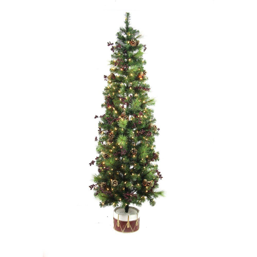 Home Accents Holiday 6 ft. Pre-Lit Potted Artificial Christmas ...