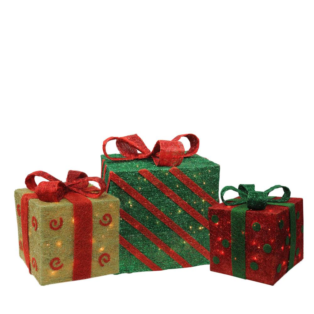 christmas outdoor decorations lighted sparkling gold green and red sisal gift boxes