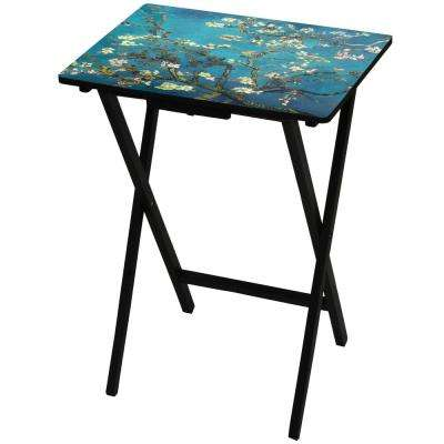Oriental Furniture 19 in. x 13.75 in. Van Gogh Almond Blossoms TV Tray in Blue