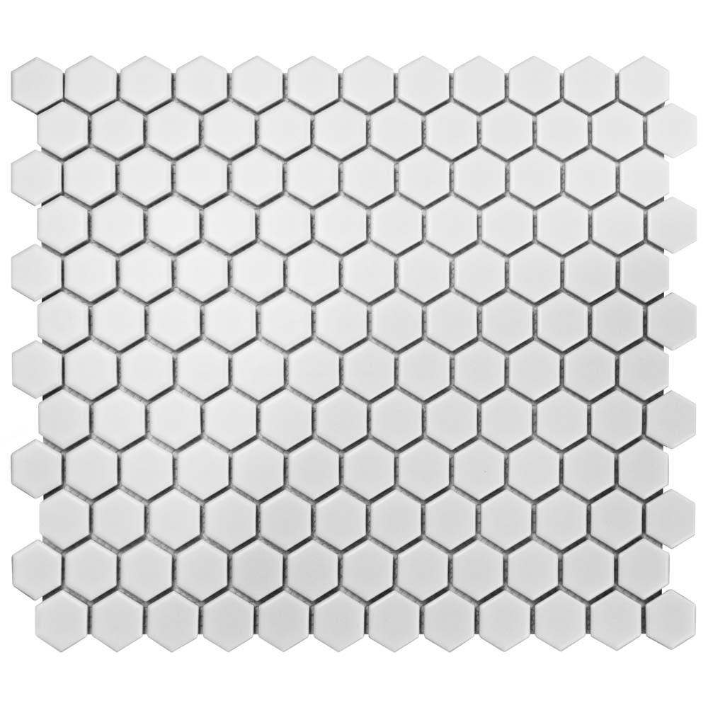 Merola Tile Metro Hex Matte White 10-1/4 in. x 11-3/4 in. x 6 mm Porcelain Mosaic Tile (8.54 sq. ft. / case)