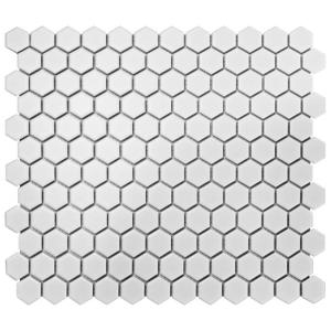 Metro Hex Matte White 10-1/4 in. x 11-3/4 in. x 6 mm Porcelain Mosaic Tile (8.56 sq. ft. / case)