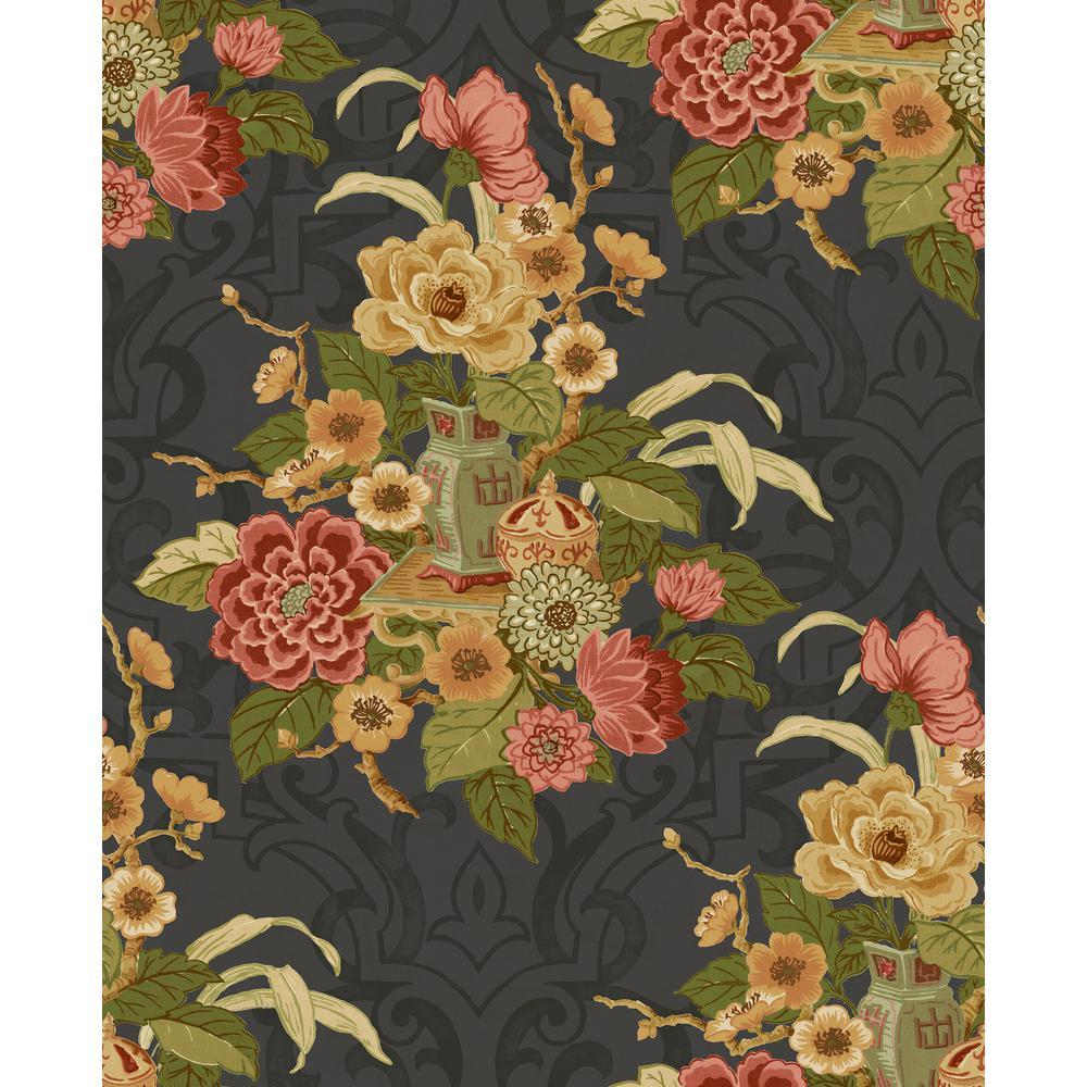 Dynasty Metallic Ebony Floral Wallpaper