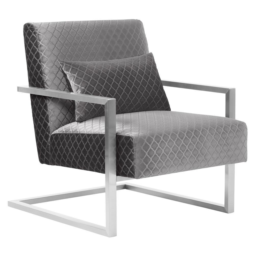 Armen Living Skyline Gray Velvet Accent Chair Lcskchgray The Home