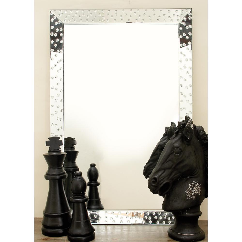 Modern Rectangular Jewel-Embedded Wall Mirror