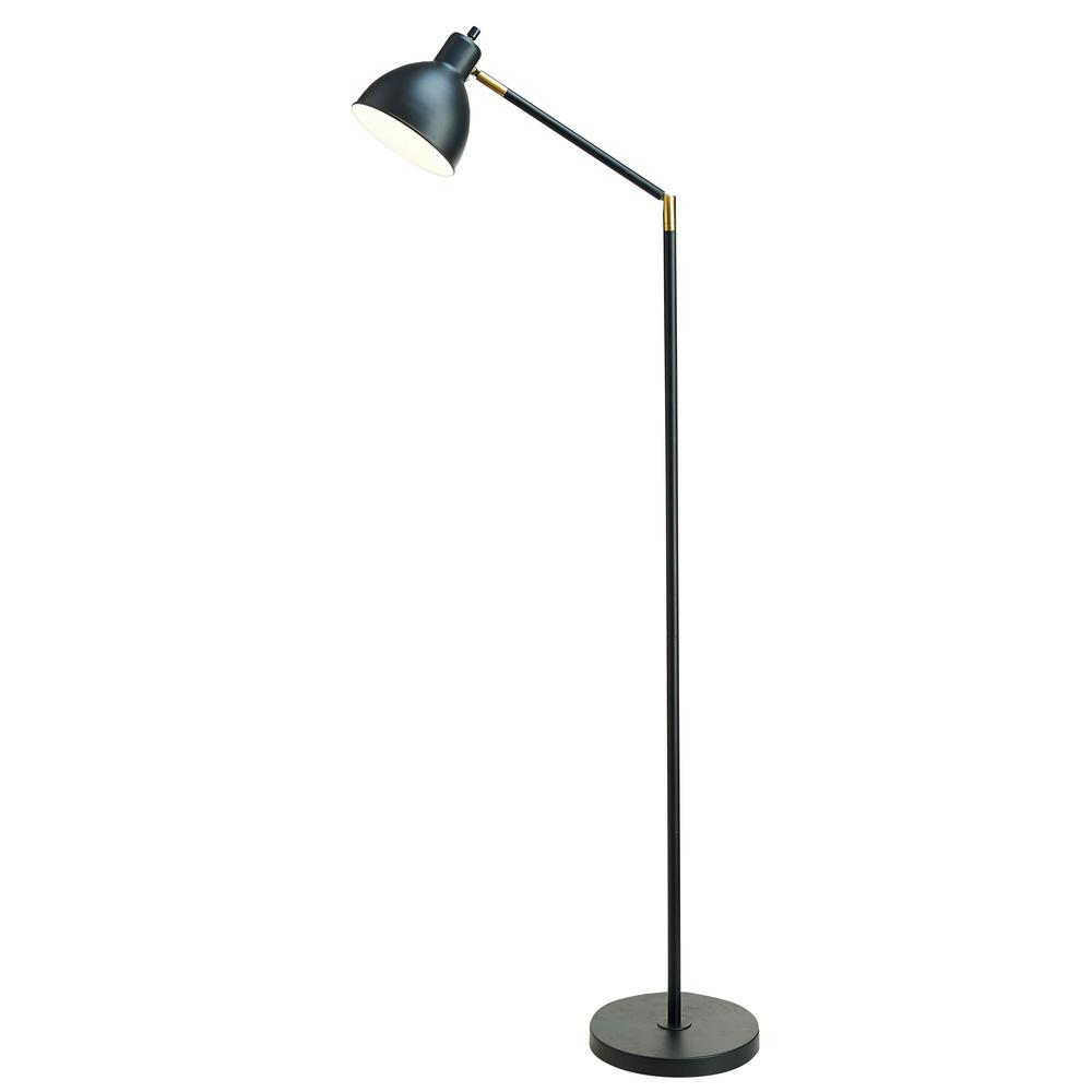 54.5 in. Articulating Floor Lamp with Antique Brass Accents