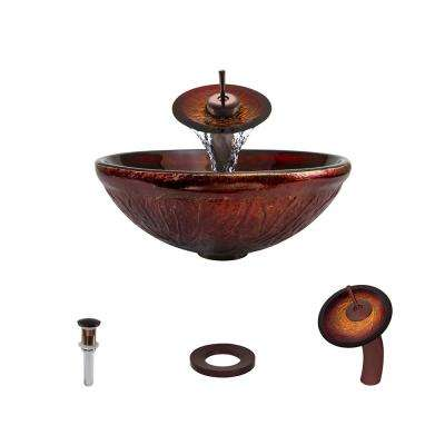 Glass Vessel Sink in Red Lava with Waterfall Faucet and Pop-Up Drain in Oil Rubbed Bronze