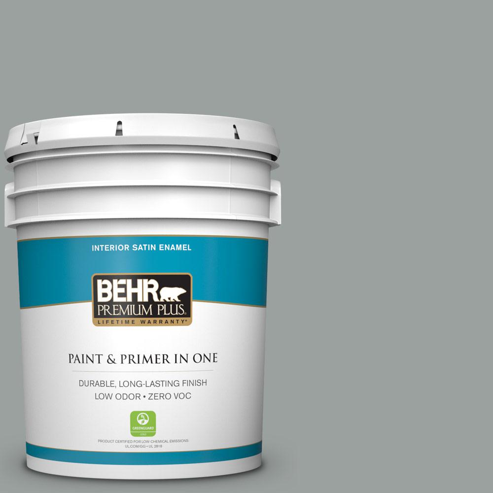 5 gal. #PPU11-16 Brampton Gray Zero VOC Satin Enamel Interior Paint