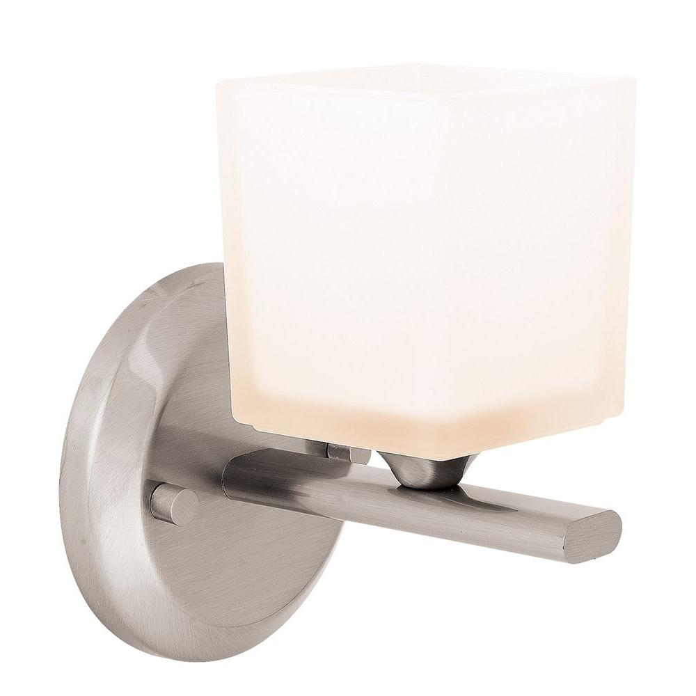 Access Lighting 1 Light Vanity Brushed Steel Finish Opal Glass-DISCONTINUED
