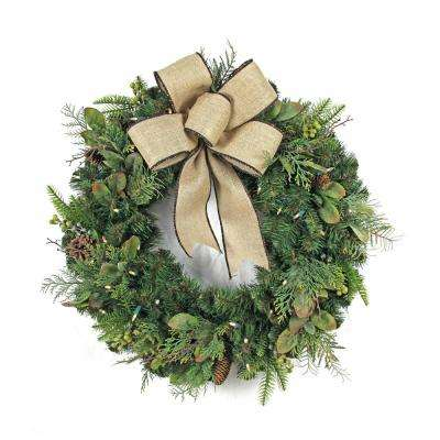 30 in. LED Pre-Lit Nature Inspired Artificial Christmas Wreath with Burlap Bow and 50 Battery-Operated Warm-White Lights
