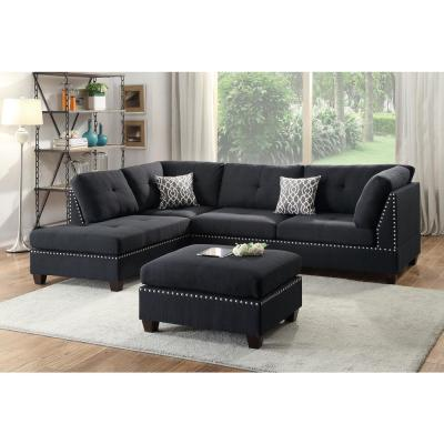 Bobkona 3-Piece Black Polyester 6-Seater L-Shaped Sectional Sofa with Ottoman