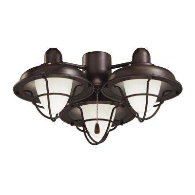 Boardwalk Cage 3-Light Oil Rubbed Bronze Ceiling Fan Light Kit