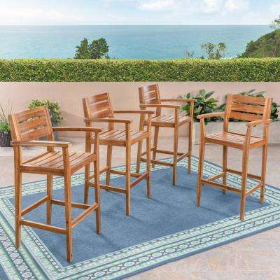 Stamford Slatted Wood Outdoor Bar Stool (4-Pack)