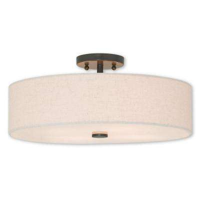 Meridian 4-Light English Bronze Semi-Flushmount