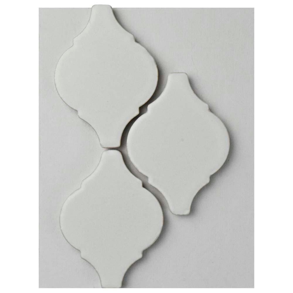 Arabesque Matte White Porcelain Mosaic Tile - 3 in. x 4