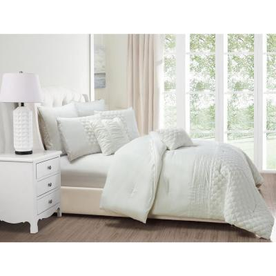 Somali 8-Piece White Queen Comforter Set