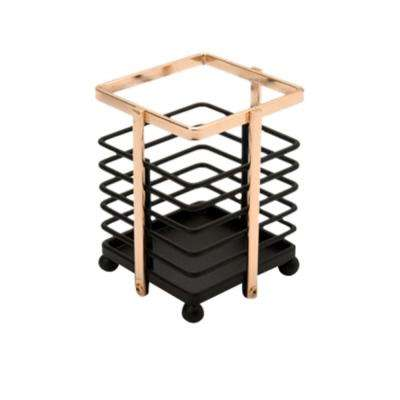 Small Matte Black and Rose Gold Cutlery Basket