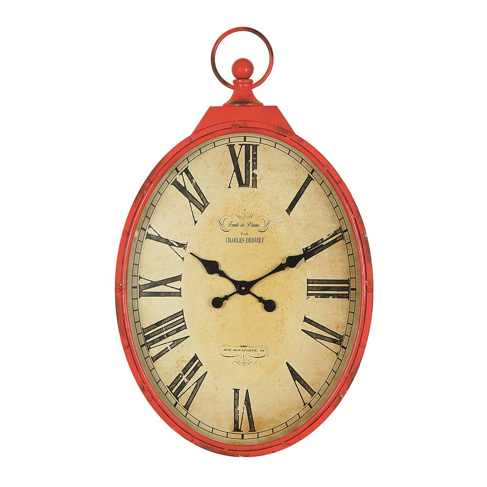 3R Studios Red Pocket Watch Wall Clock-DA0748 - The Home Depot
