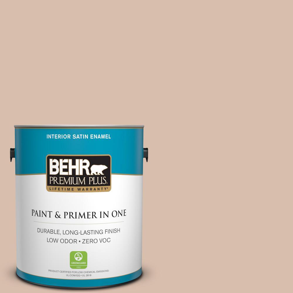 BEHR Premium Plus 1-gal. #250E-3 Wild Porcini Zero VOC Satin Enamel Interior Paint
