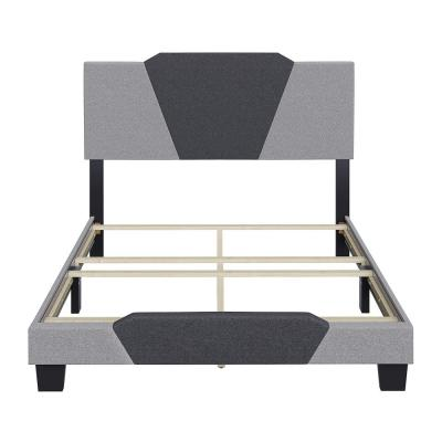 Tucker Black and Grey Linen Full Upholstered Platform Bed Frame