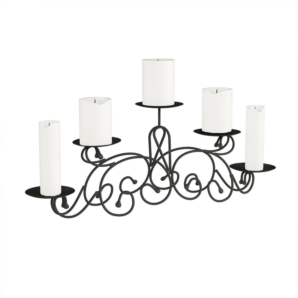 5 Candle Matte Black Candelabra with Classic Scroll Design