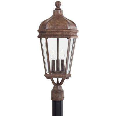 Harrison 3-Light Vintage Rust Outdoor Post Mount