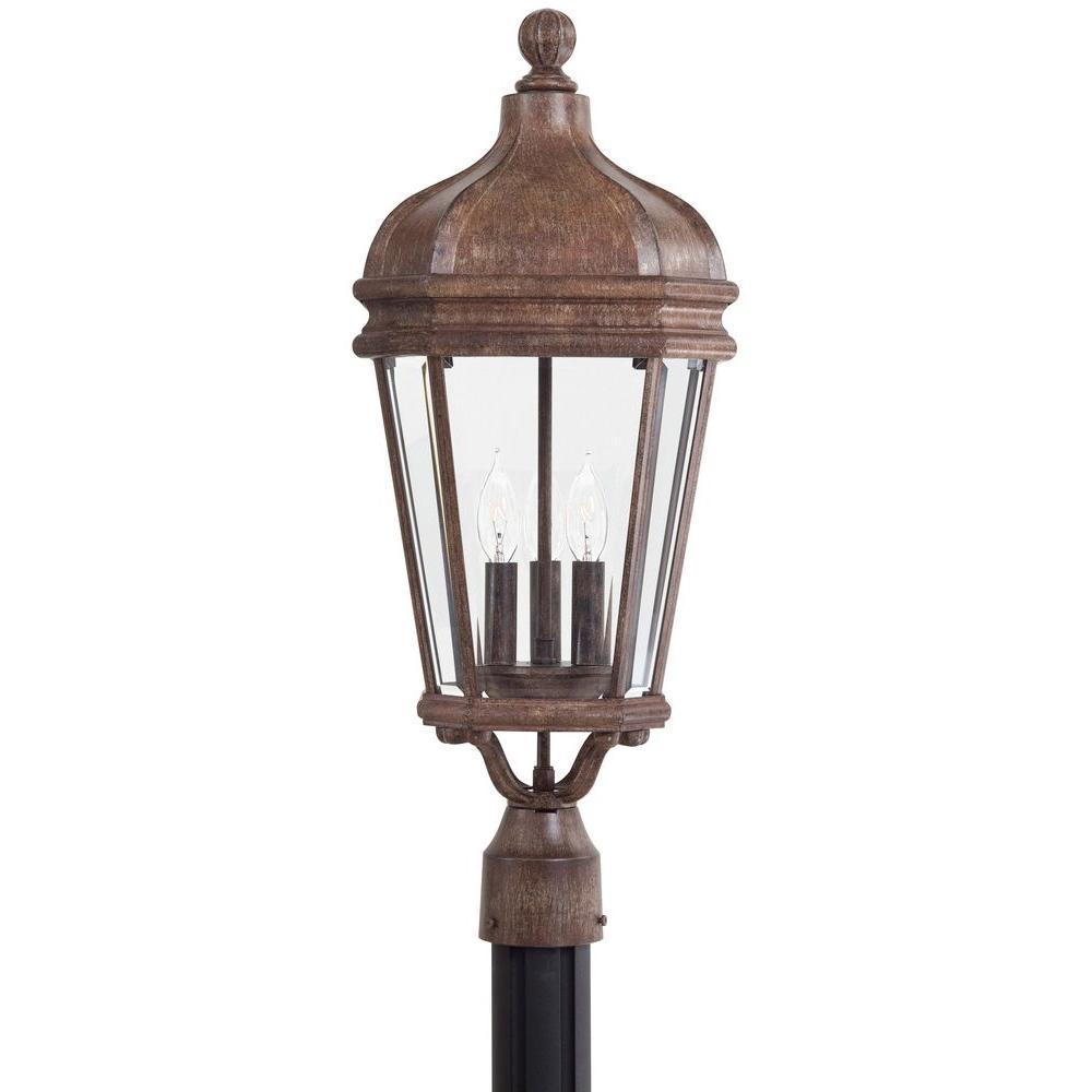 Harrison 3-Light Vintage Rust Outdoor Post Mount