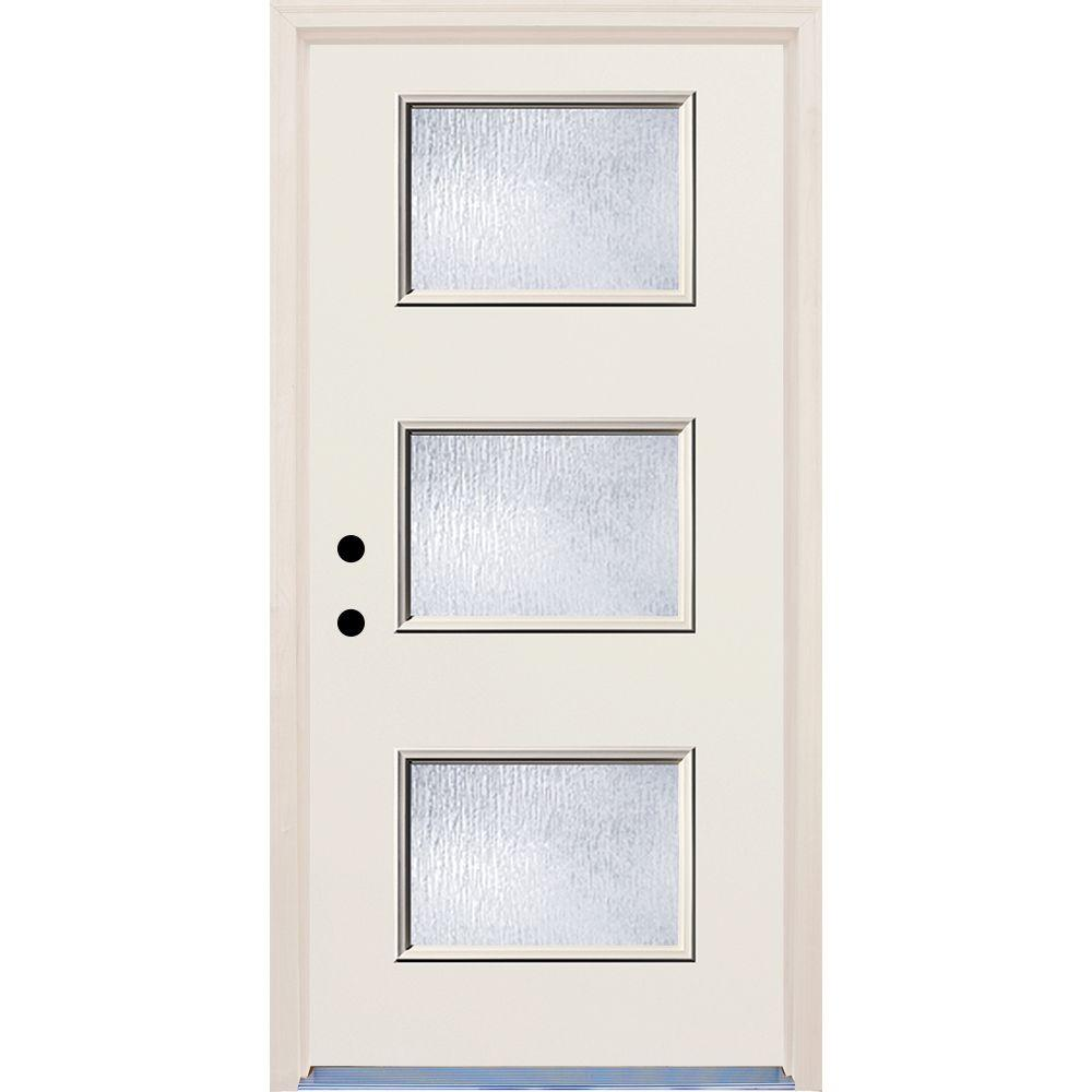 Builders Choice 36 in. x 80 in. 3 Lite Rain Glass Raw Painted Fiberglass Raw Prehung Front Door with Brickmould