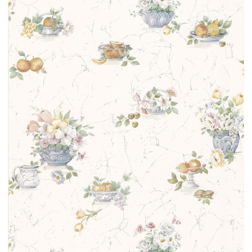 Brewster Fruit And Floral Wallpaper 402 86259 The Home Depot