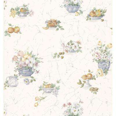 Kitchen and Bath Resource II White Fruit And Floral Wallpaper Sample