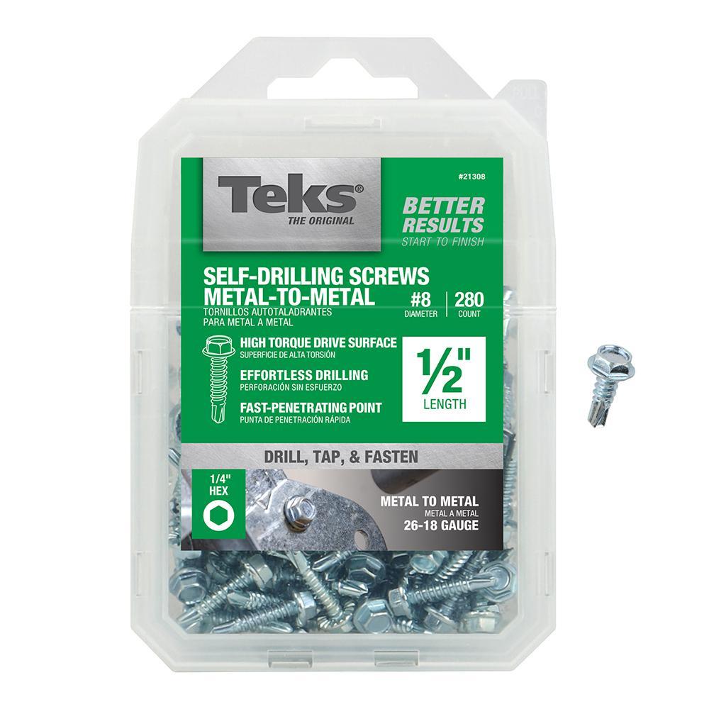 Teks Teks #8 1/2 in. External Hex Flange Hex-Head Self-Drilling Screws (280-Pack)