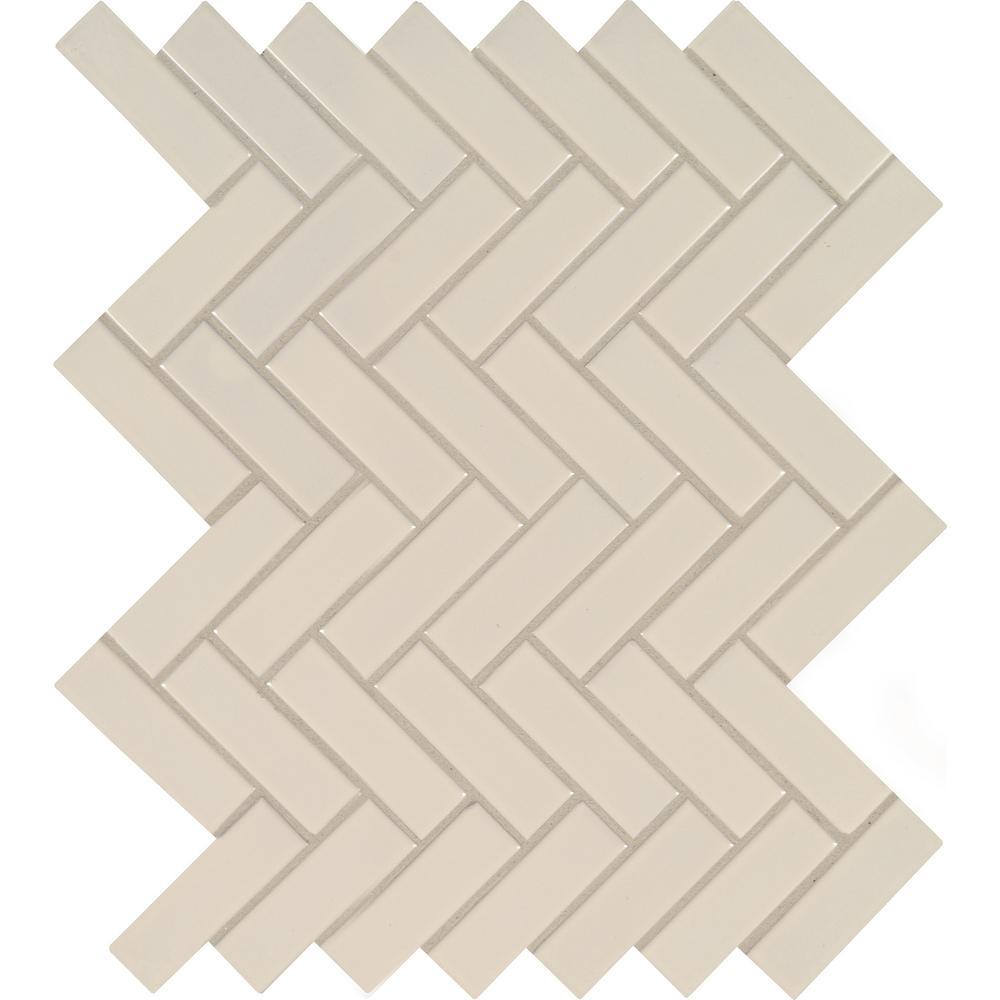 Almond Glossy Herringbone 12.52 in. x 9.72 in. x 10 mm Porcelain Mesh-Mounted Mosaic Tile (16.9 sq. ft. / case)