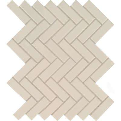 Almond Glossy Herringbone 12.52 in. x 9.72 in. x 10 mm Porcelain Mesh-Mounted Mosaic Tile (16.9 sq. ft. / case)