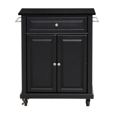 Rolling Black Kitchen Cart with Black Granite Top