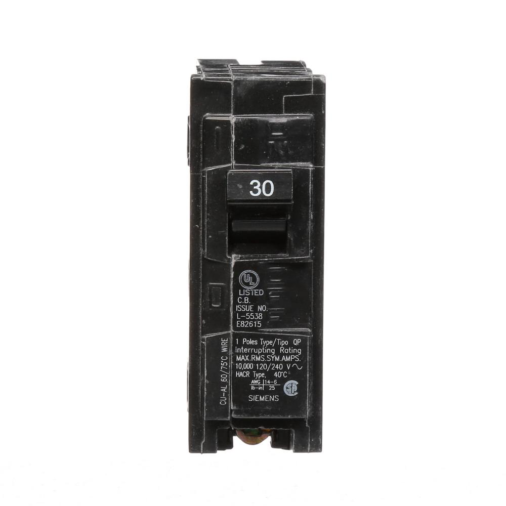 siemens 30 amp single pole type qp circuit breaker q130 the home depot. Black Bedroom Furniture Sets. Home Design Ideas