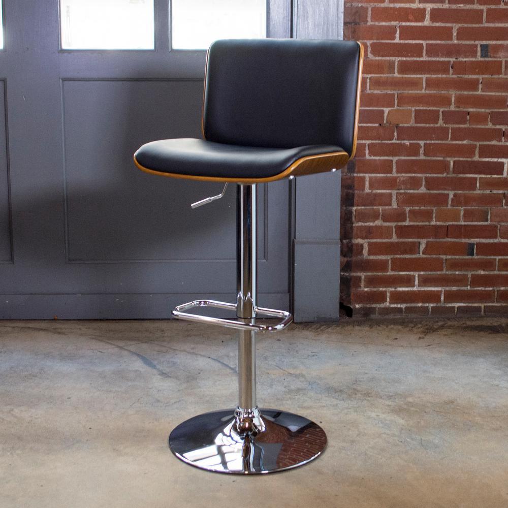 Bent Wood Adjustable Height Noir Swivel Cushioned Bar Stool