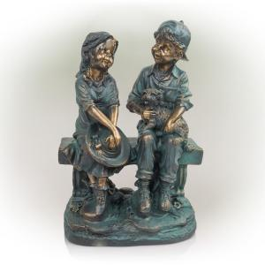 16 in. Tall Indoor/Outdoor Girl and Boy Sitting on Bench with Puppy Statue Yard Art Decoration